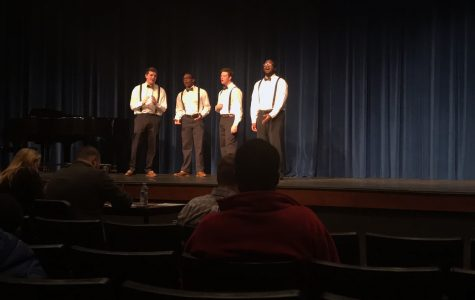 Senior Sean Lubbers, senior Perry Slaughter, junior Wesley Grant, and junior Jeremiah Franklin perform in the quartet for the regional Literary Meet.