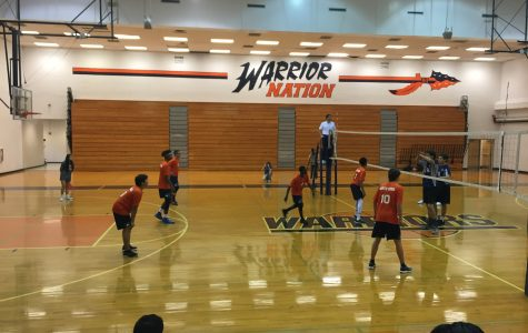 NC's men's volleyball team prepares to receive the ball. The team played their first game against Harrison on March 22.