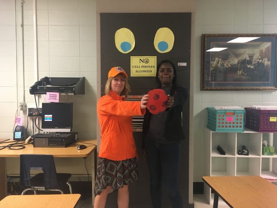 Rankenburg and Perkins prepare themselves for the new kickball season.