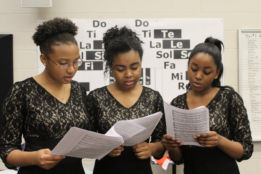 """Chorus students prepare to show off their skills at the annual Large Group Performance Evaluation (LGPE) at Lassiter High School. """"We usually get a superior every year. This may be another year, but we will manage to let the hard work pay off and get first place once again,"""" Sophomore Ellaya Johnson said."""