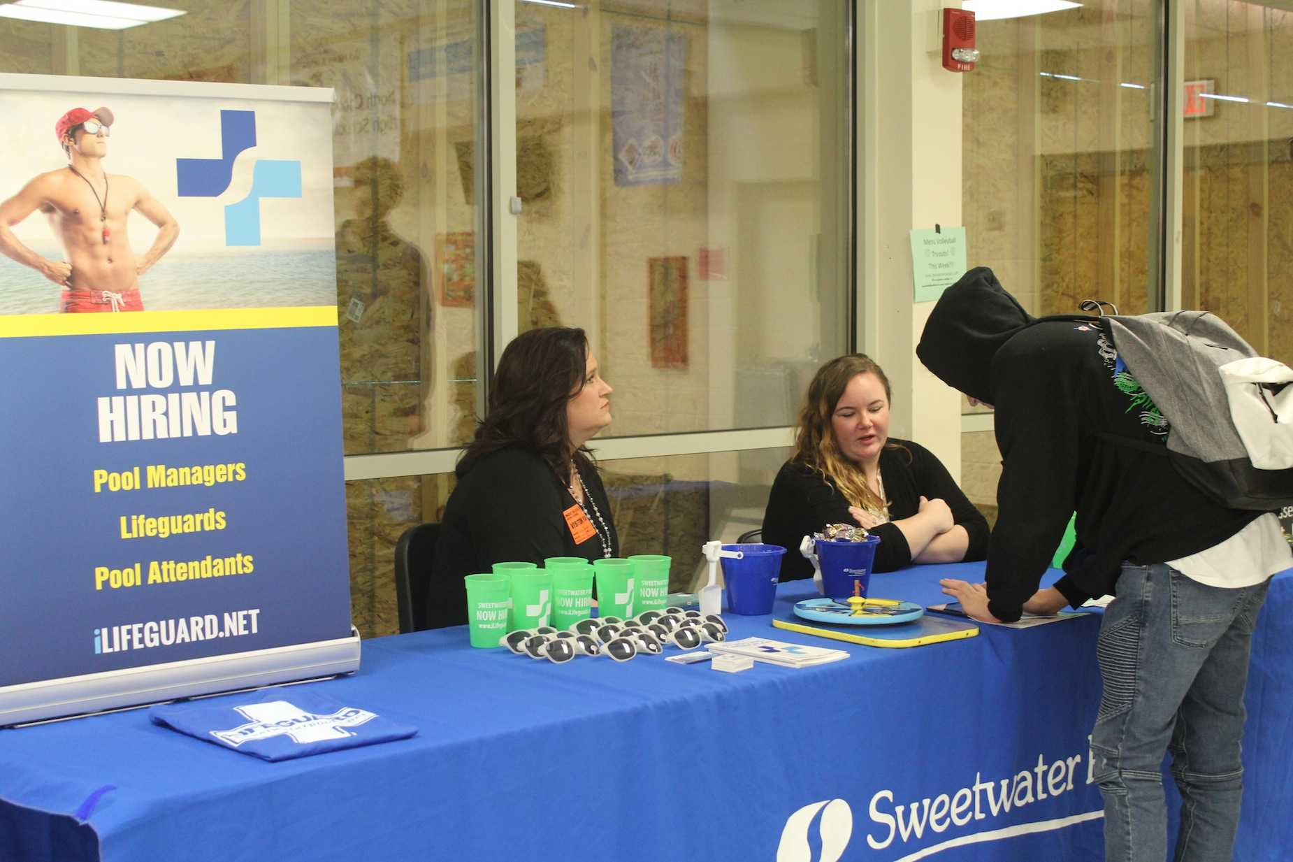 "Two representatives of Sweetwater Pools visited Nc during lunch in search of students interested in lifeguarding over the summer. Sweetwater Pools, a residential and commercial pool company, highers 500 high school students each summer. NC students filled out a quick application and await for the company's response. ""It's a fun summer job that anyone who knows how to swim can do"" representative Rachel Scott said."