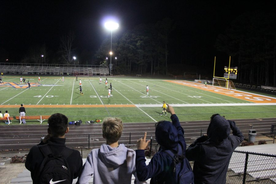 Fans filled the stands to support the JV Warriors Men's Soccer team Thursday night.