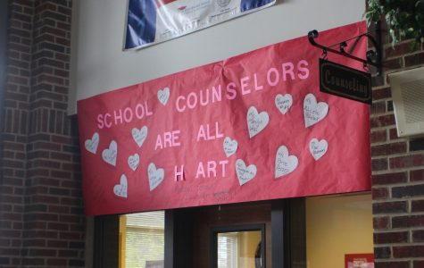 Hanging right outside the counseling office, a handwritten poster illustrates the admiration for the counselors of NC. Each heart contains a name of a counselor, and fulfilled its' purpose for National Counselor Week.