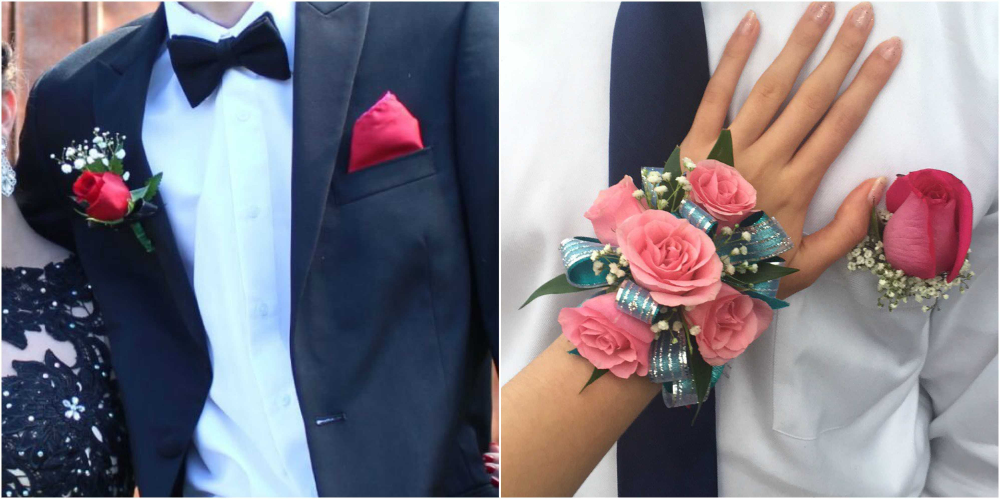The corsage and boutonniere on the right from Kennesaw Florist include pink roses, blue ribbon, green leaves, and baby's breath flower. Kroger made the left boutonniere and it includes a red rose, baby's breath flower, and green leaves that go great with a black tux.