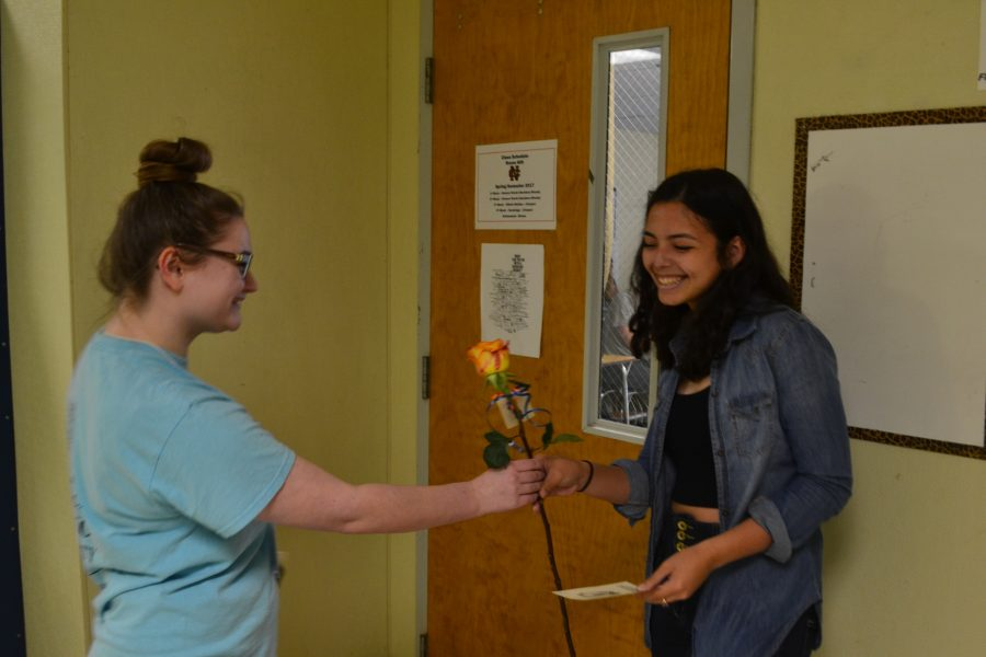 Junior Susana Chirinos smiles in joy after receiving her acceptance into National Honors Society