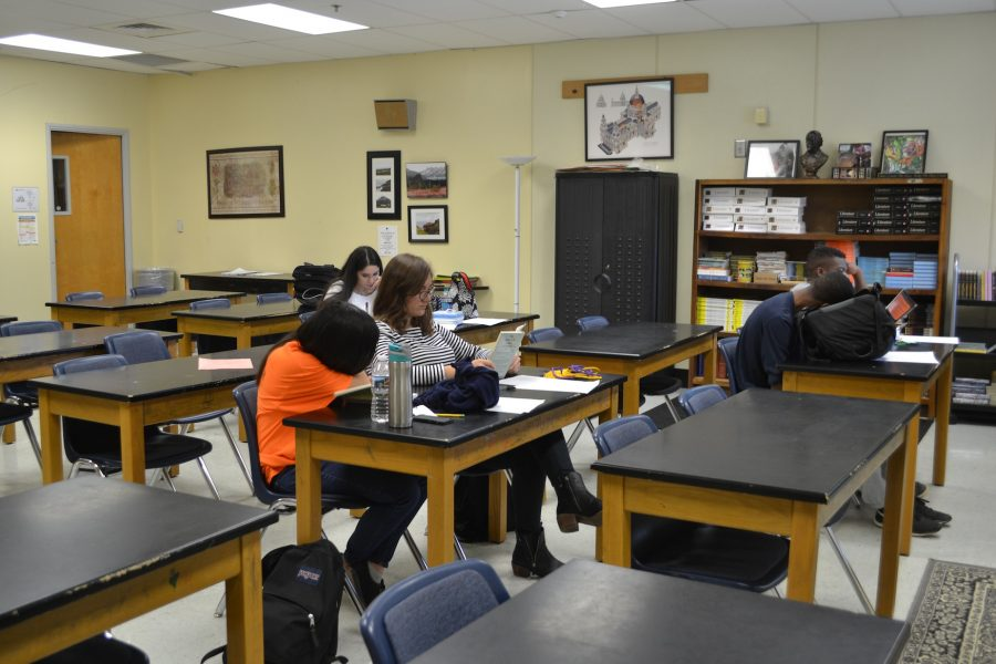 """With a month left of school, """"senior skip day"""" results in the absence of multiple seniors. """"More than half of my classroom is gone, I'm sure this will be the perfect photo to represent this supposed skip day,"""" AP Literature teacher Laura Foster said."""