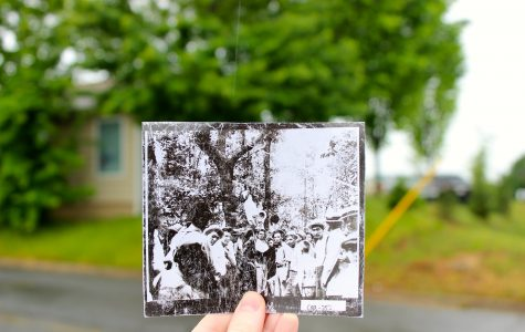The original postcard of Frank's lynching, superimposed on the location today. The history of the Leo Frank case continues to quietly permeate the city of Marietta.