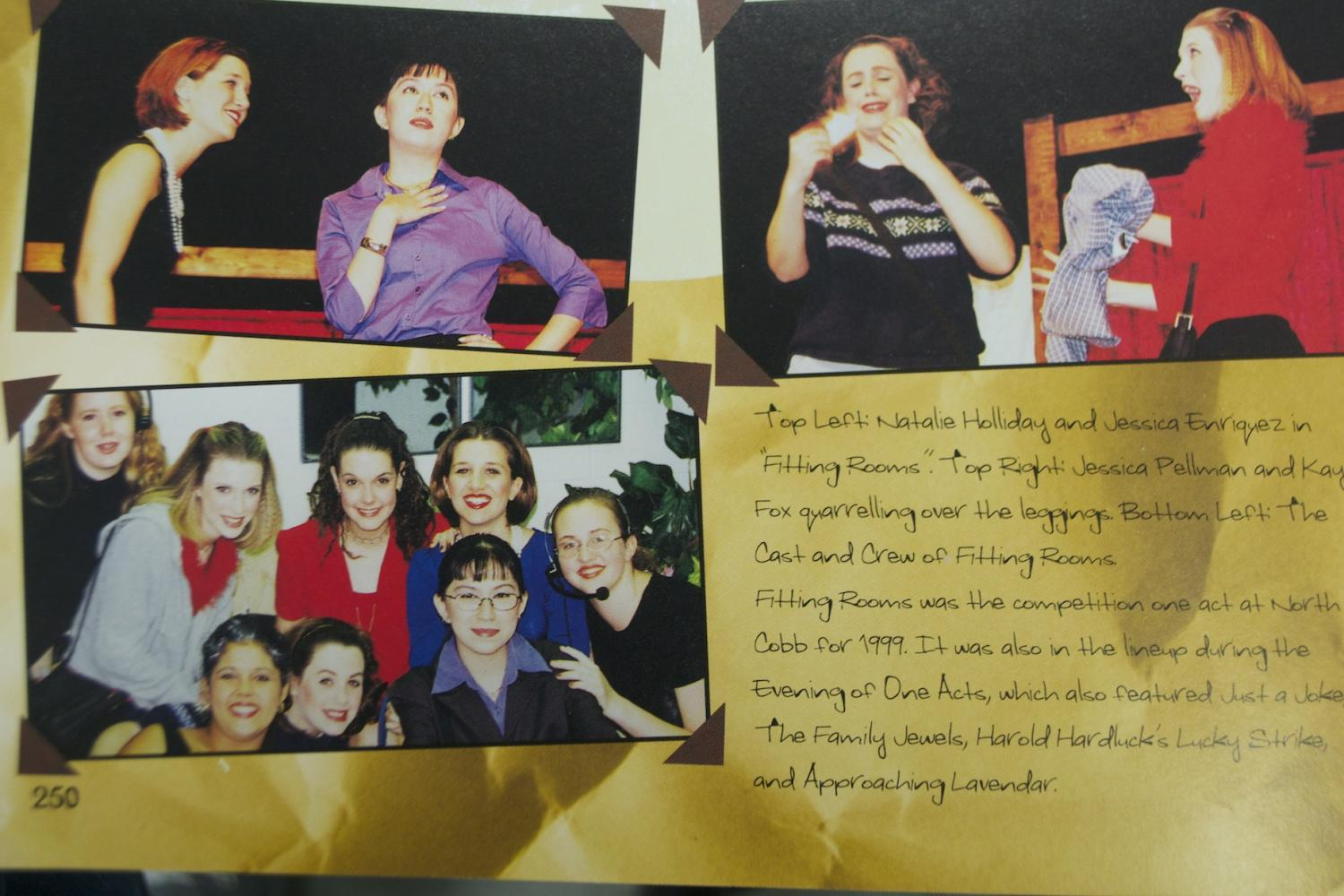 The 2000 yearbook features kids from theater performing in a play. Drama will perform the musical, 25th Putnam County Spelling Bee, at 7pm tonight. Make sure to come out and support your Thespians!