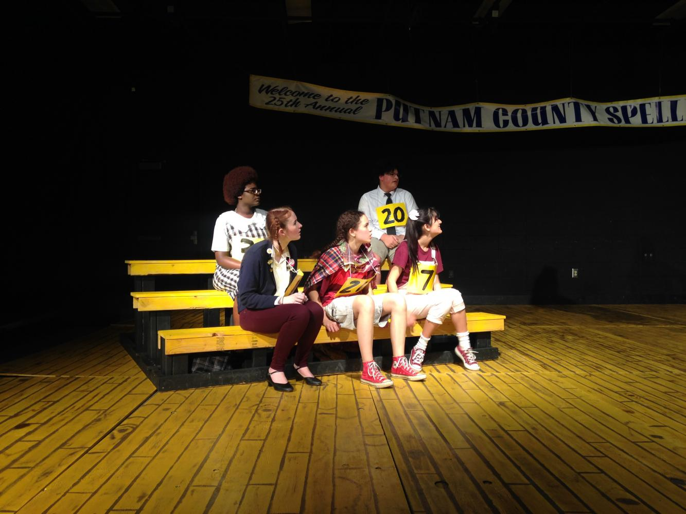 Freshman Makeyah Guy, senior Kat Shambaugh, sophomore Hope Kutsche, freshman Deandre Mallory, and senior Almendra Fuentes perform in The 25th Annual Putnam County Spelling Bee.