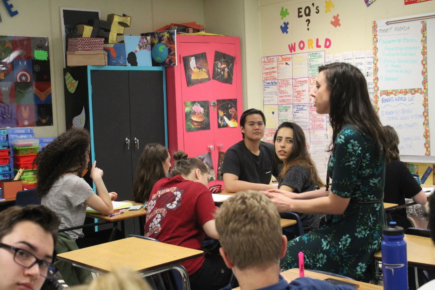 Literature teacher Jenna Essenburg engages herself in connecting with the students, enhancing the student-teacher relationship that has a long term effect on academic performance. An enthusiastic teacher influences the attitudes of students resulting in more passion and determination towards the curriculum.