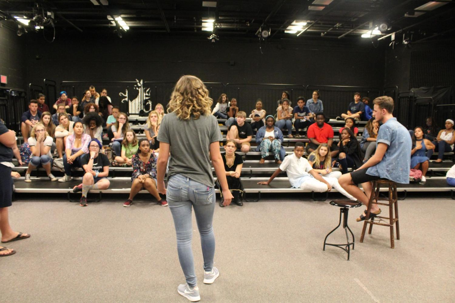 Drama+Club+begins+its+meeting+with+volunteers+performing+their+monologues+for+helpful+feedback+from+other+peers.+Senior+and+Drama+Club+president+Jordan+Hicks+prepares+students+for+what+their+real+audition+will+be+like.+%E2%80%9CThe+enthusiasm+in+students+is+so+amazing+this+year%2C+I+can%E2%80%99t+wait+for+them+to+nail+their+auditions%2C%E2%80%9D+Hicks+said.+