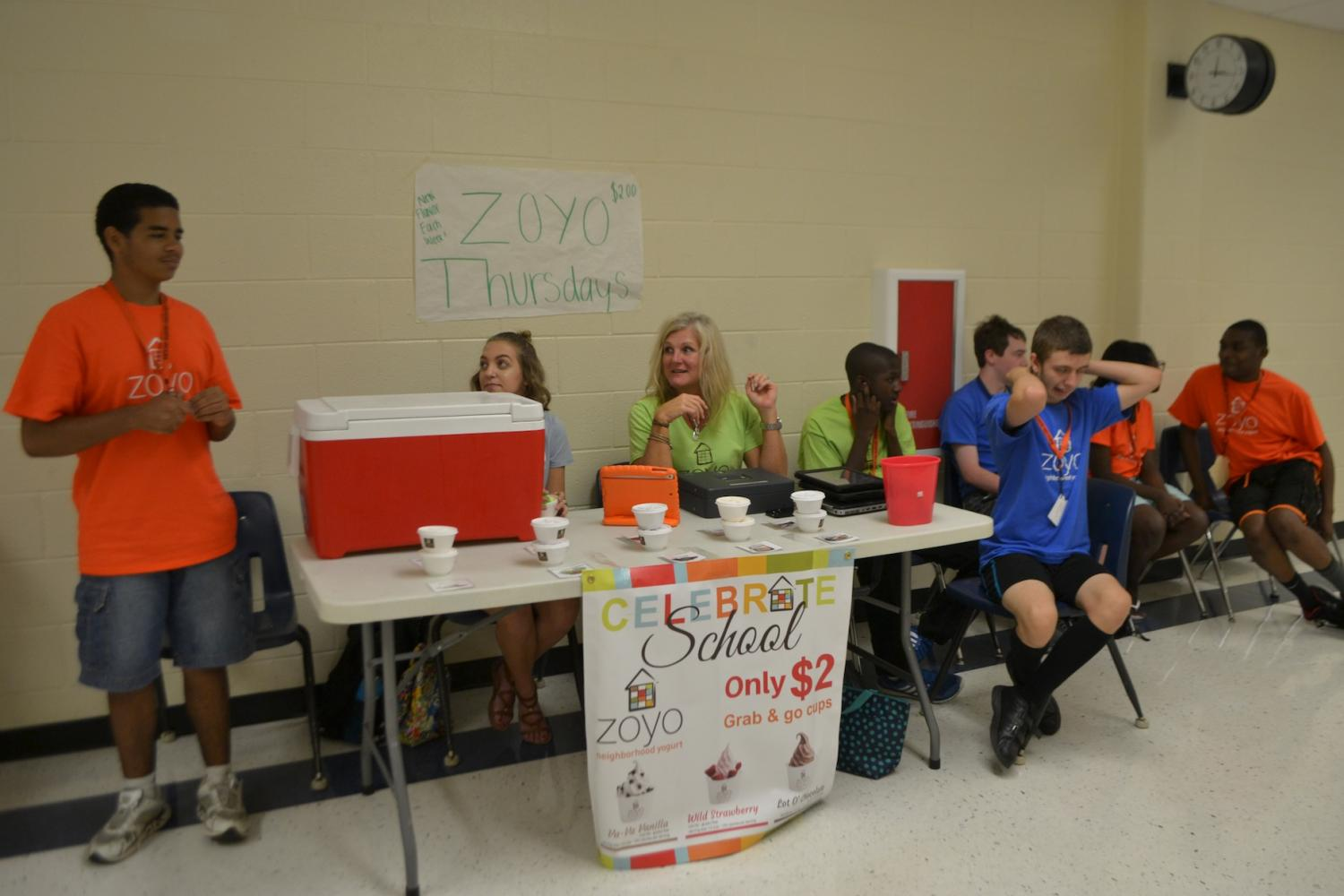 The NC special education program partners with Zoyo every Thursday to sell frozen yogurt in the freshman academy. There are five different flavors to choose from, and every week the organization offers a new flavor. At $2 per cup, the table raises money for the special education program at NC.
