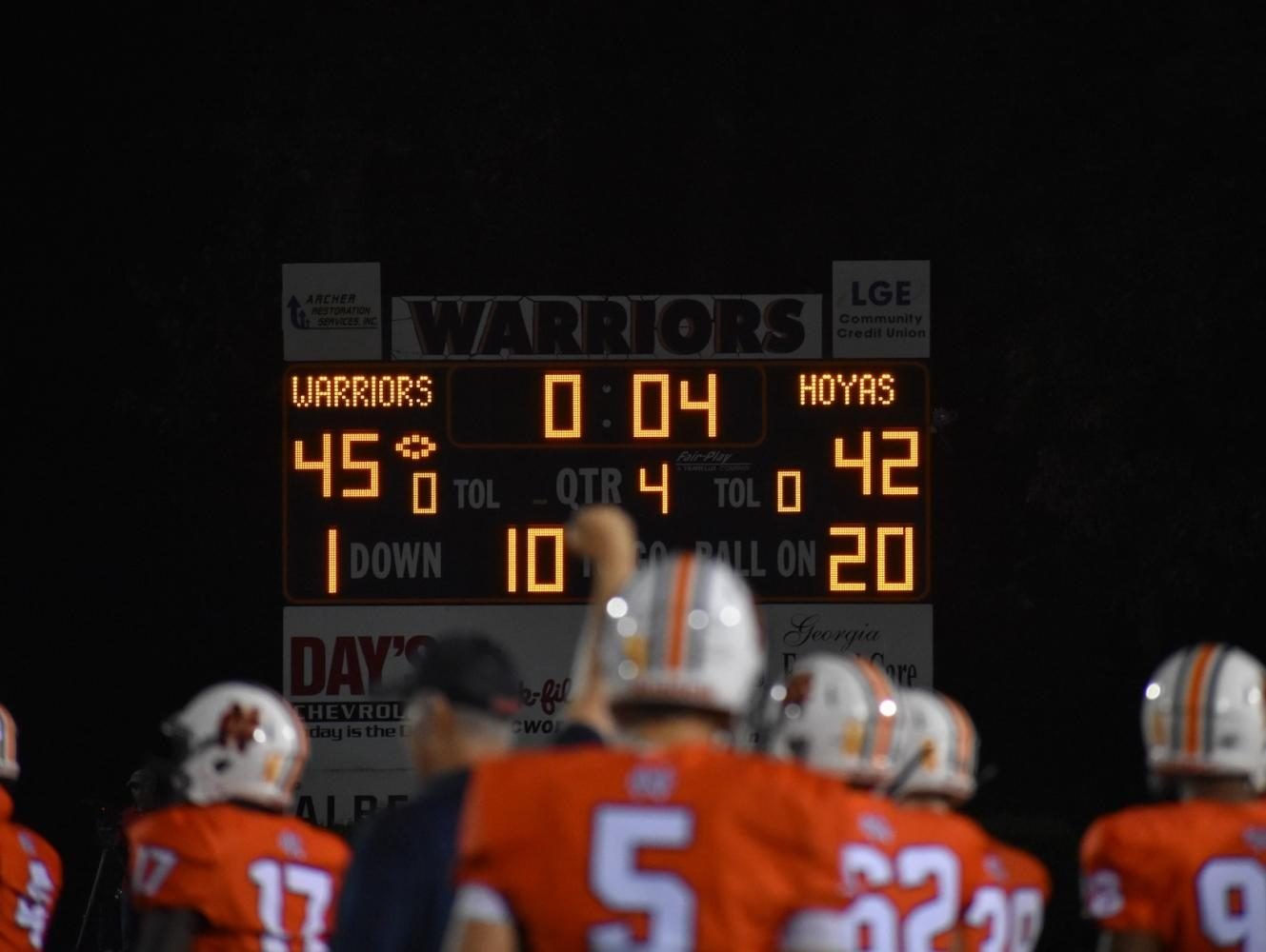 In the end, the Warriors won the game 45-43 with 20 seconds left to go on the scoreboard. A snapshot of the coaches, players, and fans celebrated together on the field as the clock ticked down to zero. The week of 9/8 is a bye week, meaning the team will not play that Friday; however, the Warriors come back on 9/15 for their homecoming game against East Coweta.