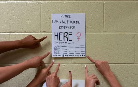 Placed in the girl bathrooms of NC, feminine hygiene dispenser posters give students the ability to voice their own opinion. As girls go to the bathroom, they can pull out their pens and pencils to show support. The issue of the lack of accessibility of menstrual products becomes more evident as women start to speak up at NC.