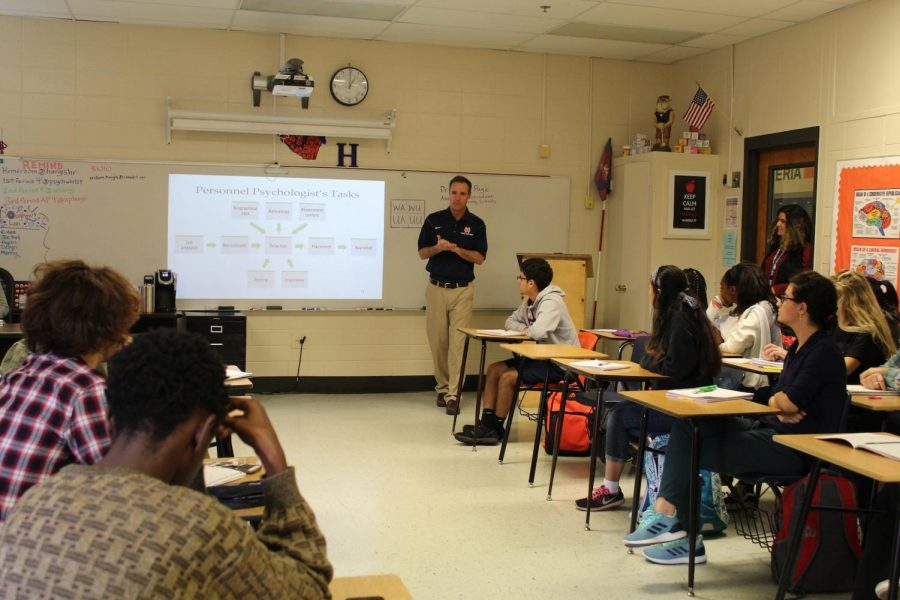 Today guest speaker and former NC principal Dr. Phillip Page visited all the AP psychology classes. He lectured students about work motivation from the psychological perspective. He spoke about how to be successful in work and shared his personal experiences with success and failure.