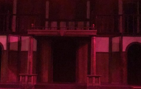 The Shakespeare Tavern's stage, modeled on an Elizabethan theater, hosts the Atlanta Shakespeare Company's productions. For Macbeth, the company covered the stage with fog and eerie lighting.