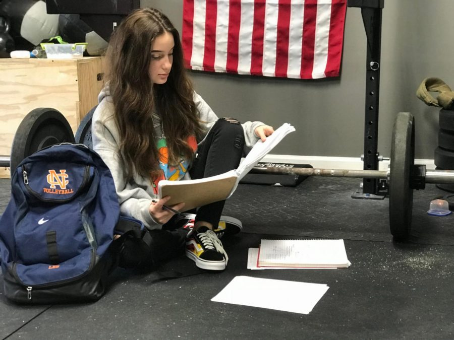 JV volleyball athlete and freshman Victoria Lee studies for her finals right before getting into her workout routine, exhibiting a student's ability to succeed in the classroom, and thrive in the gym. As a student, maintaining a healthy lifestyle directly coincides with executing academic endeavors.