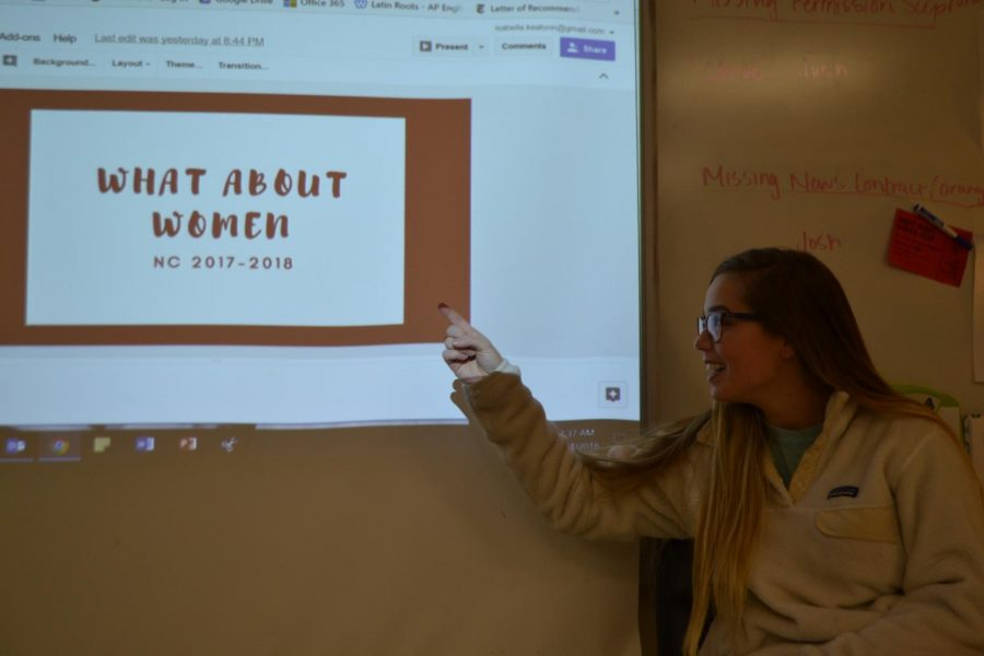 "Juniors Isabella Keaton and Tara Anastasoff hosted the first meeting of What about Women? club, on January 24, where they discussed how to get feminine hygiene dispensers placed in the girl's bathrooms at NC. 13 girls attended the first meeting and participated in a bonding activity to kickstart the beginning of the club. ""(We are just) throwing everything out into the open. Within the next few meetings, we'll fine tune our plans and have a day where we research and plan a fundraiser,"" Anastasoff said."