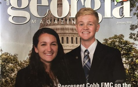 "This photo shows Ian McCullough's feature on the Georgia Magazine for winning a paid internship, $1000 scholarship, and a paid trip to Washington D.C. at Cobb EMC this past year. ""I taught Ian his sophomore as well as his senior year and he has become a very well spoken young man and very poised and very sure of himself,"" Ian's favorite teacher, Mrs. Galloway said."