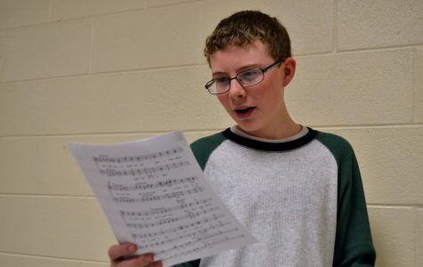 "Freshman Joseph Jenkins demonstrates his singing capabilities. Together with Jenkins, NC's own Joshua Dixon and Chandler Quaile all made the grade for the statewide ensemble. ""It's a really fun experience,"" Jenkins said."