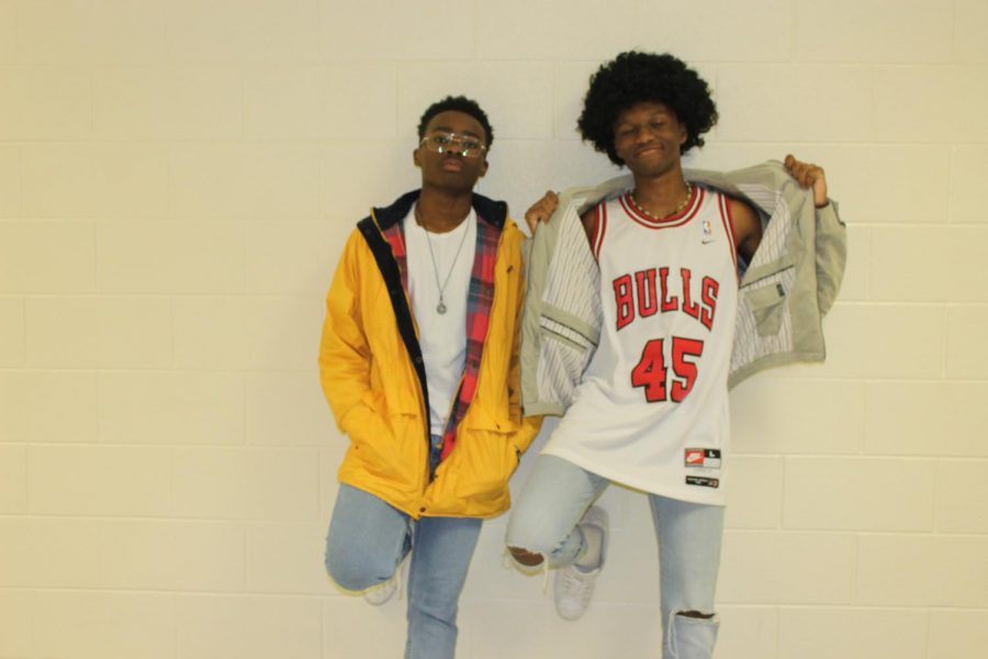 Juniors Chike Azuzu and Zion Fitch dress in their best 70s attire for Hoopcoming spirit week.