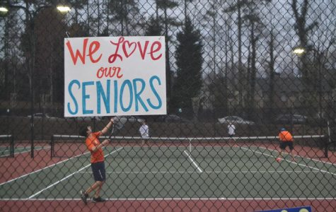 NC Varsity Tennis team held their Senior Night at Legacy Courts and played matches against Campbell Spartans.