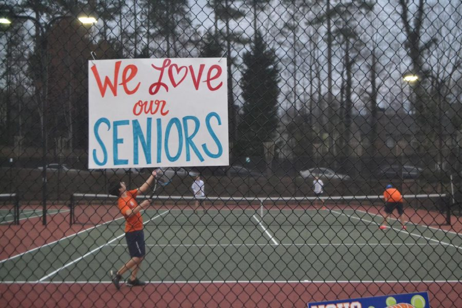 NC+Varsity+Tennis+team+held+their+Senior+Night+at+Legacy+Courts+and+played+matches+against+Campbell+Spartans.++