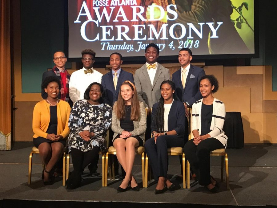 "Senior Jayden Bourne (pictured in top row on the right) takes pictures with his fellow Posse Scholars at the acceptance reception ceremony. ""Being able to attend this reception was a dream come true knowing that I finally achieved what I set my sights on at the beginning of the year,"" Bourne said."
