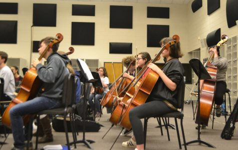 "Magnet sophomore Tali Porter, among others, practices diligently on her cello. All students in orchestra are eager to learn and practice in preparation for LGPE.  ""[Students] can't play it any better than they are right now so they just have to go and have fun, leave it on the stage, and take every risk that they can to provide the audience with the best experience."" said Paula Krupiczewicz, orchestra teacher at NC."