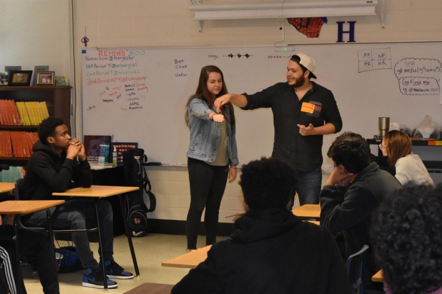 "Today in Coach Hargis' psychology class, a magician came by to give students a lesson on sensation and perception. Junior Jill Floyd initialed a quarter, then proceeded to bend the quarter at the magician's direction. ""I don't know how he did it, but he grabbed my arm and shook it then all of a sudden I was holding a bent quarter.  It was scary,"" Floyd said."