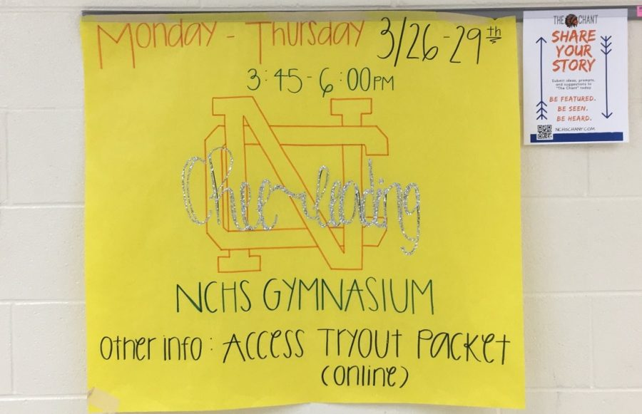 "NCHS cheer tryouts will begin a week from today on March 26 in the gym. Freshman through Juniors will try out on March 29 from 3:30 to 6:00, and rising ninth graders will try out from 4:45 to 6:00. ""We are looking for spirited young ladies who embody what North Cobb should be, as far as being a good representative of north cobb and being a good role model for her peers. Actually, we're looking for gentlemen too, so male and female,""  JV coach Katrina Toledo said."
