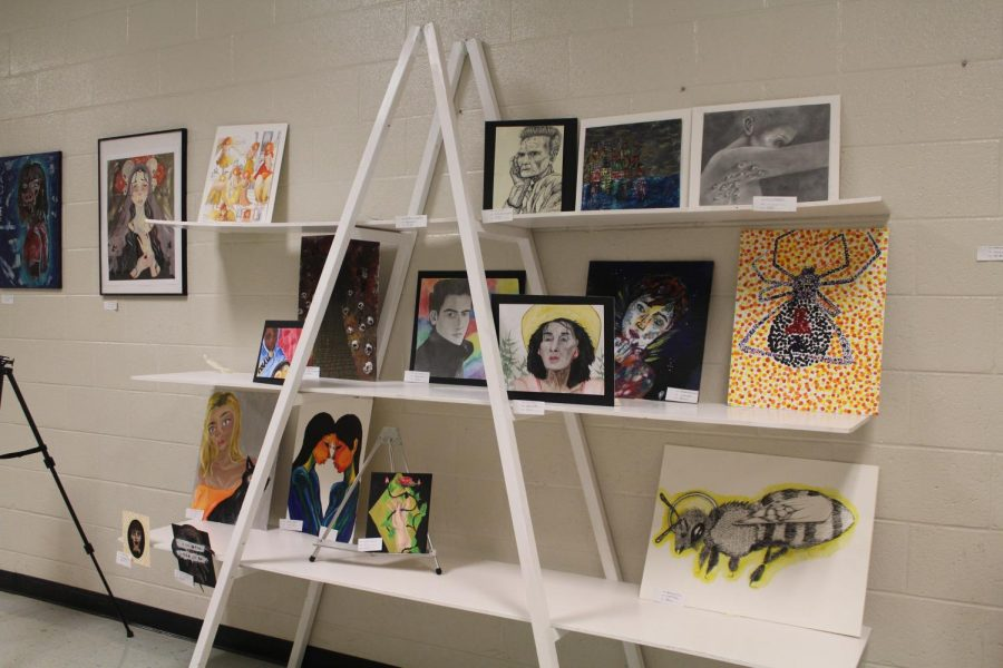 The first display of the art pieces from NC's art program. The piece focused on realism with a mixtures of mediums and plays on colors.