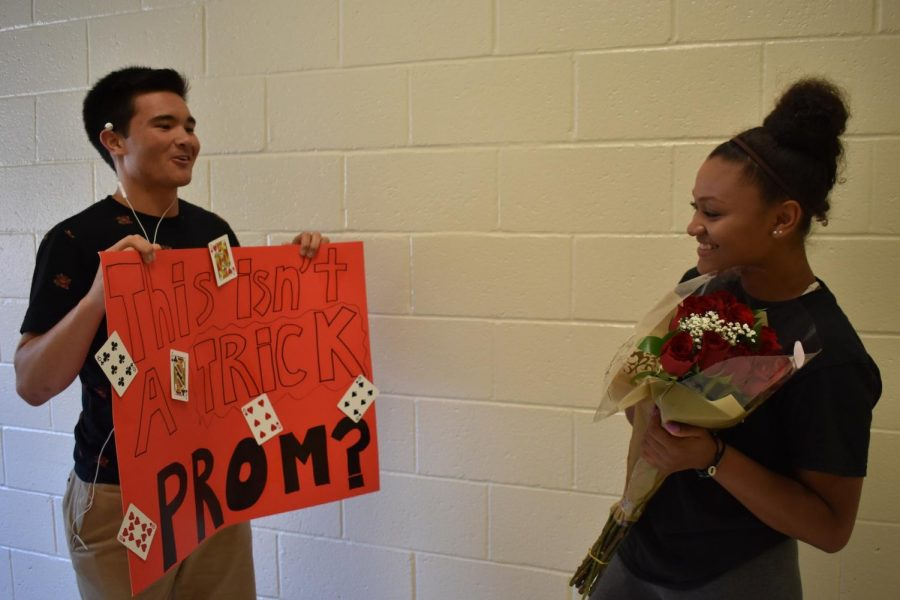 "With prom right around the corner, students kicked off the season by creating their best promposals. Senior Alex Llamas asked Maya Hercey to prom via card trick, pulling a bouquet of flowers and a poster from behind her ear. ""I knew he was going to ask me, but I didn't know when and I didn't know it was going to be like this. I loved it,"" Hercey said."