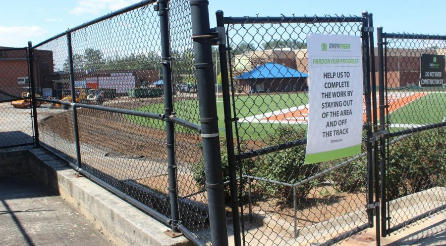 The construction of a new track for the football field at NC began yesterday. Signs and gates prevent students from entering, asking them to stay away from the stadium. The construction also prevents sports teams utilizing the field, creating a season filled with away games. Despite the inconvenience to NC's athletes, the new track will provide a much needed face lift to the football field.