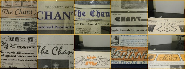 The photograph features various logos for The Chant used throughout the years. The years from left to right, include 1979, 1982, 1983, 1992, 1993, 1995, 1997, 2012, 1994, and 1984.
