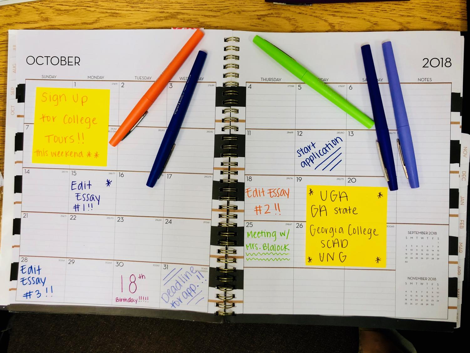College commonly stresses students out, but they can avoid overwhelming themselves by keeping up with important dates and college information in a calendar or notebook. Students should note which colleges they plan on applying to, as well as events such as counselor meetings and college visits in their planner.