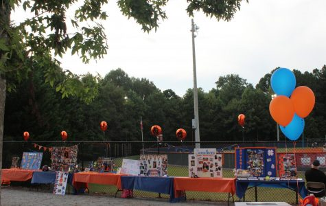 Posters honoring the senior members of the team adorned the gate surrounding the gate near the softball arena; balloon arches and flowers also lined the entrance to the field.