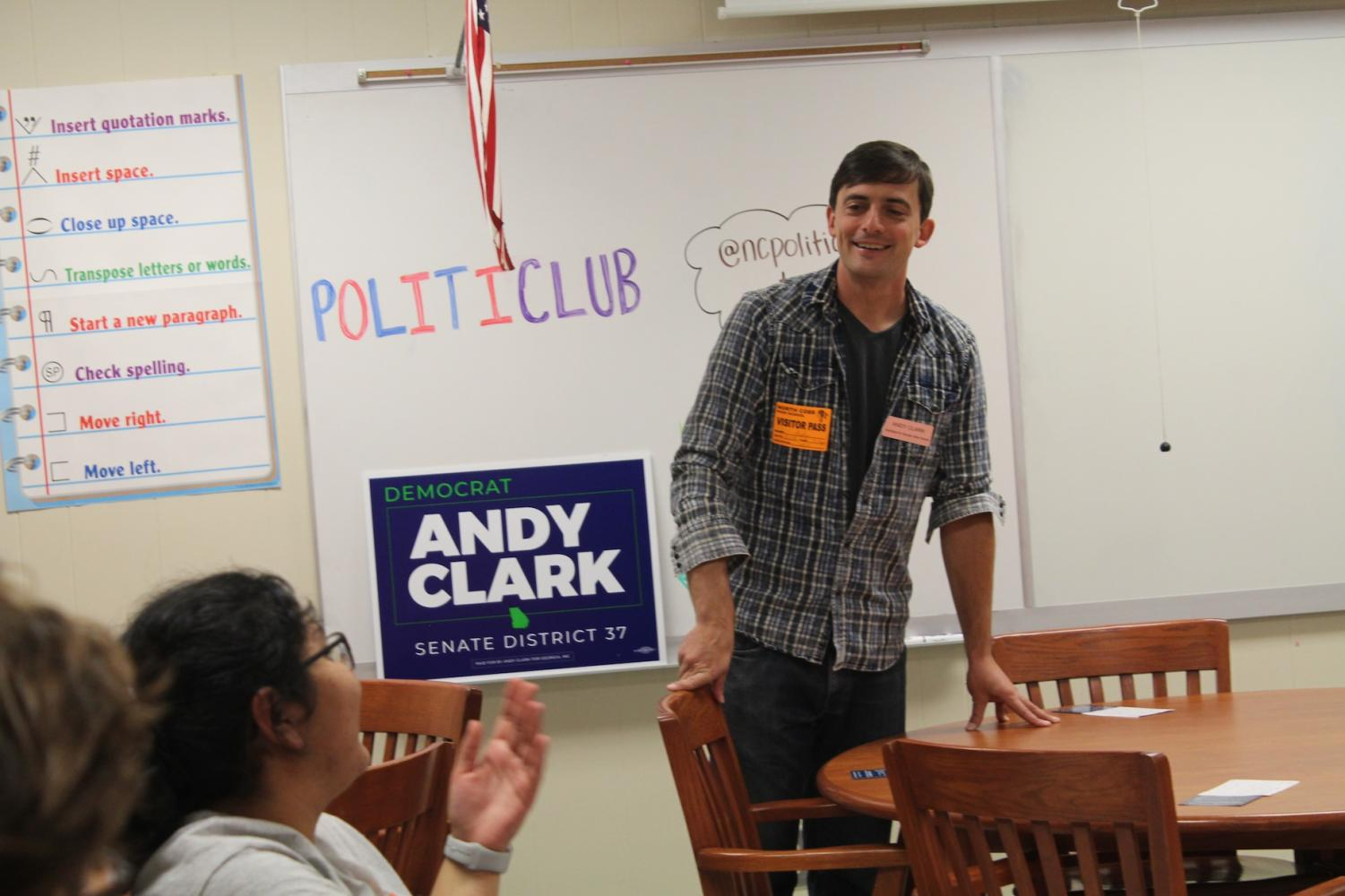 At the Politiclub meeting, Democrat Andy Clark, runner for Senate in District 37, gets close with the NC students through engaging them in the conversation. The audience asks interesting questions to keep the discussion going as Clark introduces himself and goes over his campaign goals.