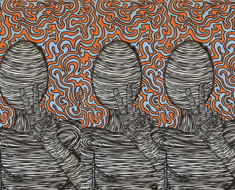 Ashley DeVan, 20 year-old artist, turned her hobby into a passion when she began selling her art on Marietta Square in the summer of 2017. Her most personal favorite artwork, illustrates a person, drawn by lines, holding up a peace-sign with orange and blue designs in the background. This piece, most frequently used for advertisement for her sales, symbolizes DeVan as just another artist.