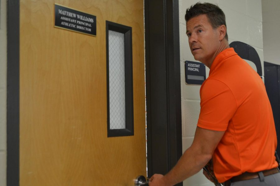Williams enters his new office as he takes on the day as assistant principal. The new office gives him space to embrace his two roles and is placed in an easy spot for students and teachers to reach him.