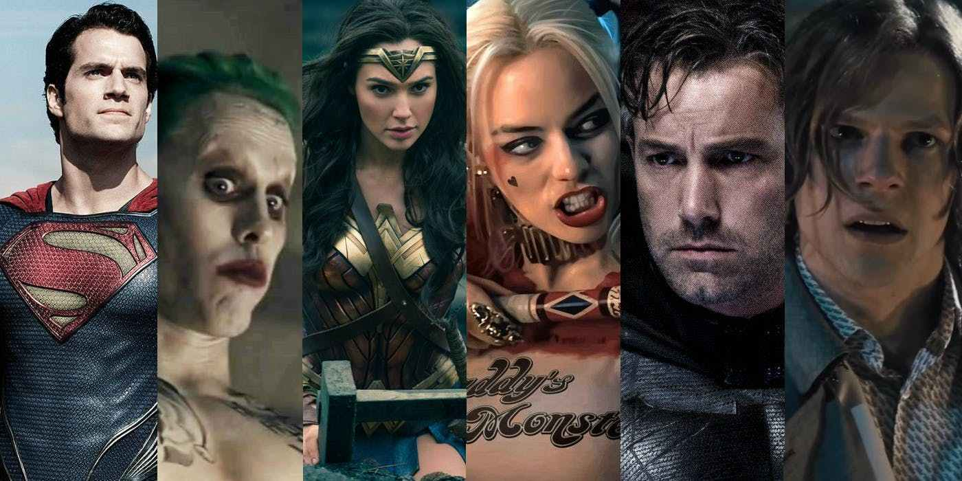 Superman, the Joker, Wonder Woman, Harley Quinn, Batman and Lex Luthor (in order of appearance, from left to right) all serve as flagship characters for the DCEU. Among these six, all but Lex Luthor received positive word of mouth from fans from a character perspective, while only the Wonder Woman movie of the same name earned general positive reviews.