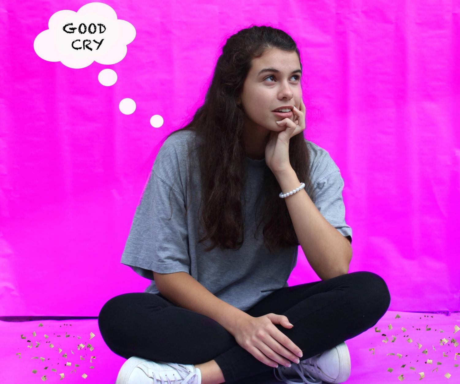 """Junior Katie Word reenacts the cover of Noah Cyrus's first EP, Good Cry. """"The album cover is aesthetically pleasing and the music present in the EP fills me with a type of emotion that I cannot express. I can feel that the music is about Lil Xan, however I personally think Miley Cyrus is better,"""" junior Katie Word said."""