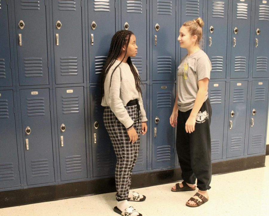 "To kick off Red Ribbon Week, students around the school showed up in their pajamas to show that they ""sleep on drugs."" Representing the drug free life, sophomores Ivy Wanjiku and Kaleigh Everheart wore their pajamas to school. The rest of the week's dress up days include: wear red day, crazy hair day, twin day, and sports/career day. ""I love dress up weeks, they are always fun and I feel like it brings the school together a little bit. Just like we should stand together to fight drugs, we dress up together,"" Wanjiku said."