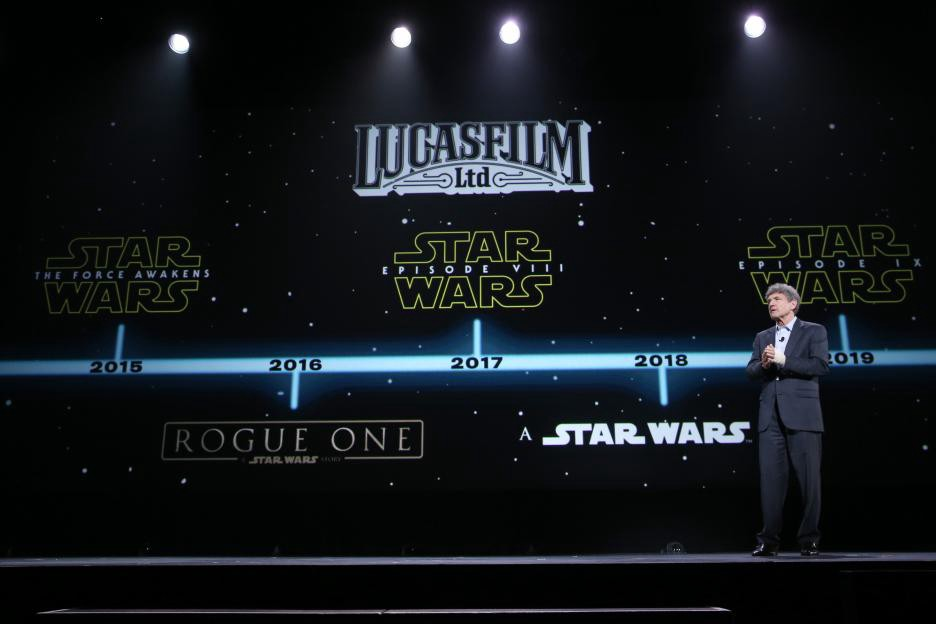During a 2015 shareholders meeting, Disney announced the slate of upcoming Disney-era Star Wars films, including the then untitled Star Wars: The Last Jedi, Solo: A Star Wars Story, and the still untitled (and unreleased) Star Wars: Episode IX; the three saga films announced after the end of the sequel trilogy, revealed as part of a Rian Johnson-directed trilogy, also remain unnamed.