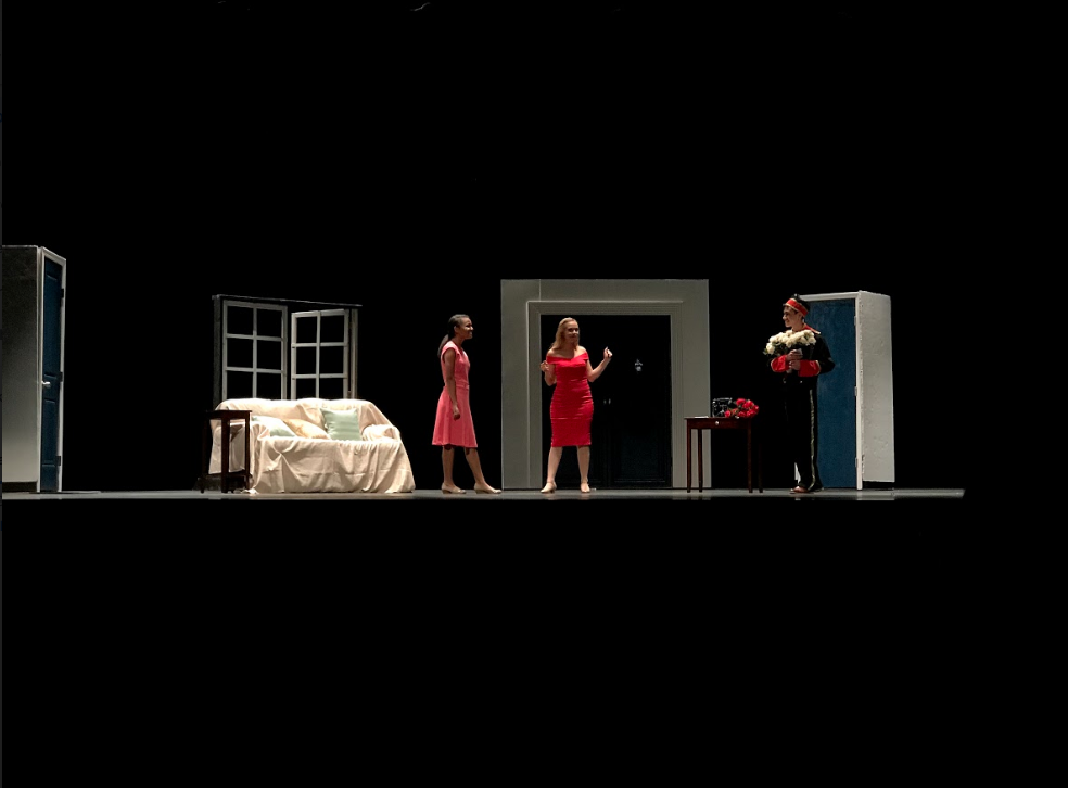 Juniors Evyna Milligan, who played Murphy, and Jose Chirinos, who played Francis, accompanied Senior Isabella Keaton, who played singer Athena Sinclair, in Suite Surrender, practice once more ahead of this weekend's competition. This scene included Sinclair yelling at the bellhop to throw out the white flowers that she found in her hotel room.