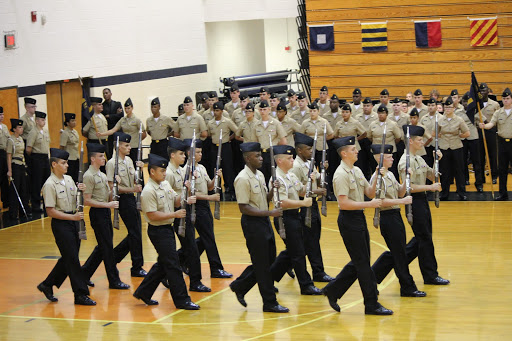 Rifles up, chests out, and eyes forward. Twirling their guns in the air and marching in unity, The Armed Exhibition Platoon surpassed previous Annual Military Inspections. Appearance and performance wise, North Cobb-Harrison's JROTC captivated the crowd and started off their season in stellar fashion.