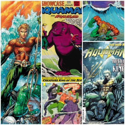 arious comic book cover encompassing the different eras of the character. The issues, in order: Justice League Vol 2, issue 4 (textless cover), DC Showcase Present #32, Aquaman Vol. 5, issue 0, Aquaman #35, & Aquaman Vol 7, issue 18.
