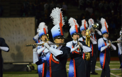 Band members stare intently at the drum majors to stay on beat and march to the best of their ability. The second and third marching band competitions tested the groups technique as well as playing ability.