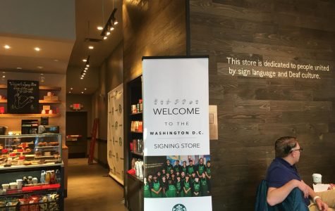 "The storefront of the Starbucks displays the name of the store in ASL. This gives a unique visual to catch people's eyes as they walk down the street. ""The Starbucks puts hearing people in deaf people's shoes,"" sophomore Devlin said."