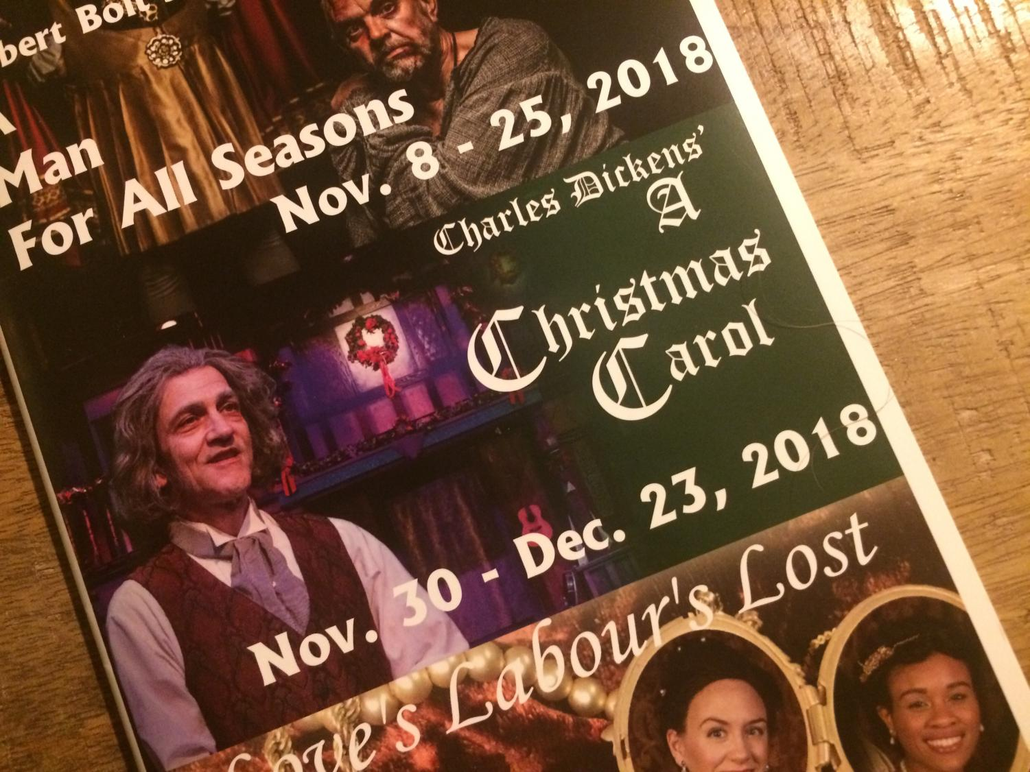 Playgoers received programs for the Shakespeare Tavern's performance of A Christmas Carol. Vivid, vivacious, and passionate, the company's interpretation leaves an indisputable mark on the viewer. Light on traditional dialogue and heavy on singing, it more than earns its keep as a venerable Atlanta holiday tradition.